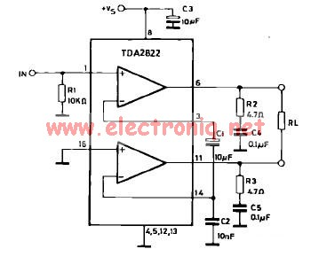 TDA2822 power amplifier bridge