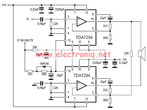 TDA7294 bridge power amplifier circuit diagram electronic