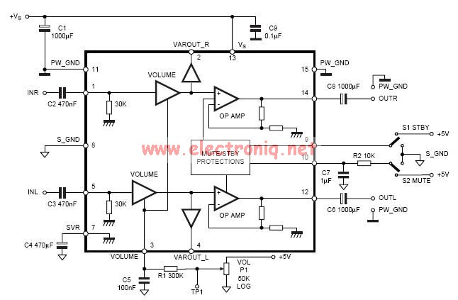 TDA7496 2x5 watts stereo class AB audio amplifier circuit