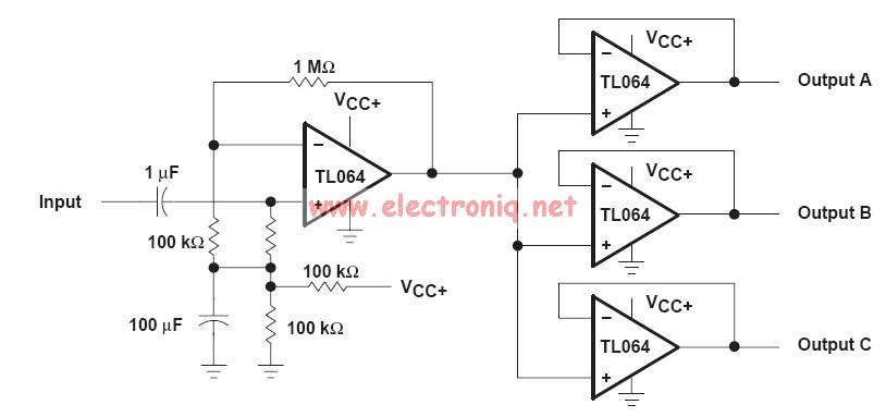 audio distribution circuit using op amp