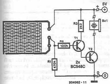 Transistor water sensor alarm circuit