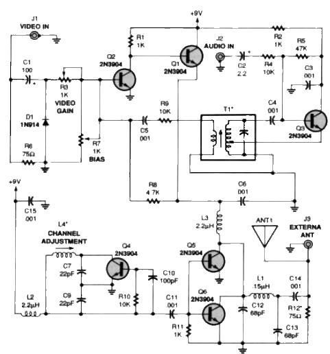 tv audio video transmitter circuit design projecttv audio video transmitter circuit