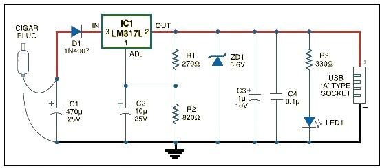 USB car charger adapter circuit design schematic