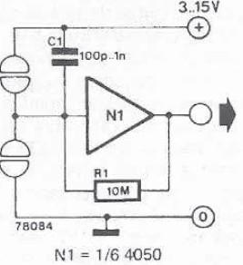 Touch switch sensor circuit using CMOS