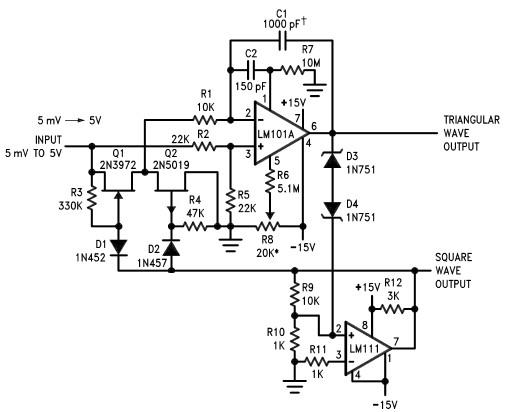 voltage controlled oscillator circuit using lm111 and lm101