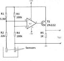 Fluid level sensor circuit using 741 op amp electronic project