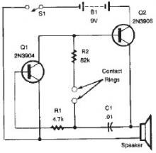 Lie detector circuit design project using transistors
