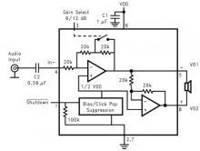 LM4096 1 watt audio amplifier circuit