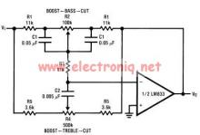 Tone control circuit designed using LM833