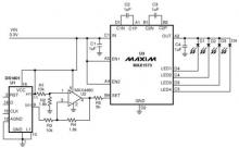 MAX1573 white led driver electronic project schematic