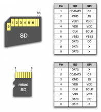 SD and Micro SD card pins