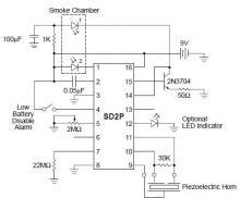Smoke Detector circuit diagram using SD2 IC