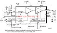 60 watts audio amplifier circuit using TDA7296 class AB amplifier