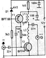 VHF antenna amplifier circuit