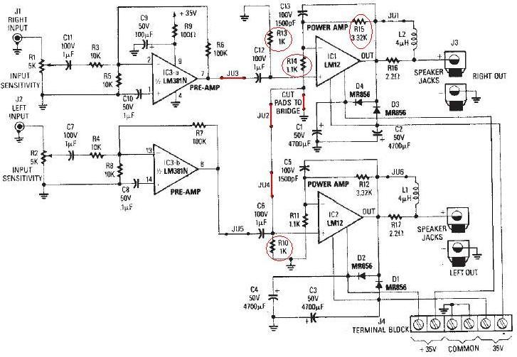 Lm12 Audio Amplifier Circuit Diagram Electronic Project