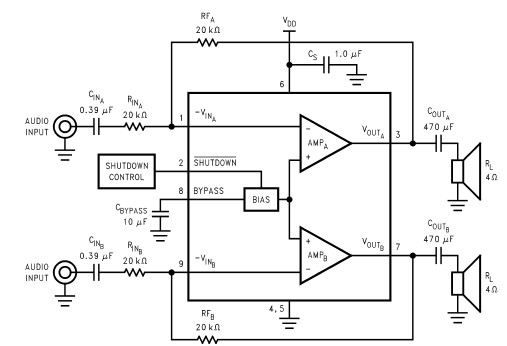 lm4940 6 watts audio amplifier circuit diagram electronic project