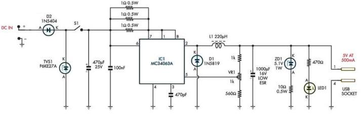 Mc34063 Mp3 Player Charger Circuit Diagram Electronic Project