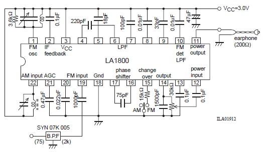 LA1800 portable am fm radio circuit