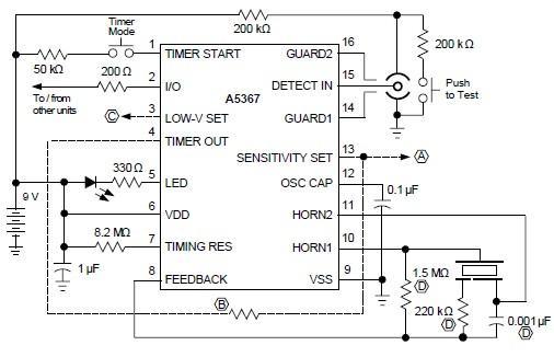ionization smoke detector circuit using a5367