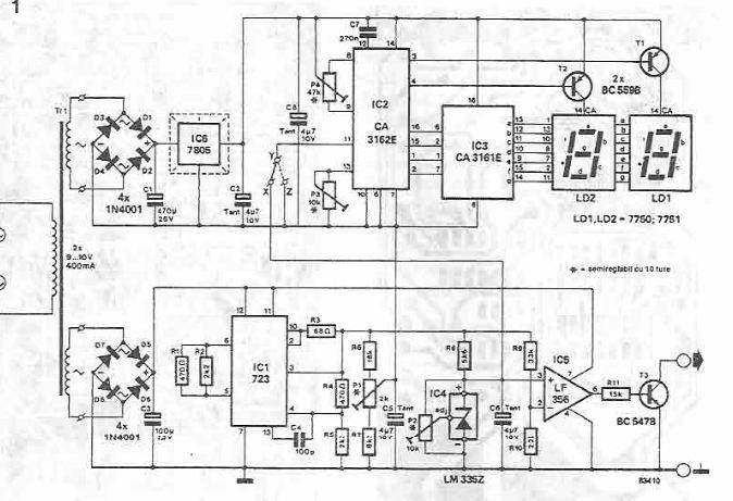 electronic thermometer using lm723 and common electronic parts