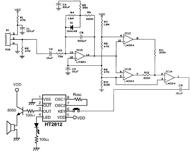 PIR motion detector circuit electronic project