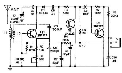 2N2222 Shortwave radio receiver circuit