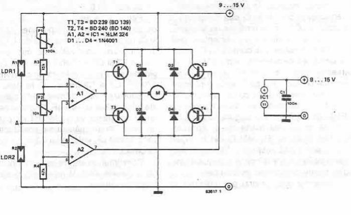 System for solar orientation using common electronic parts