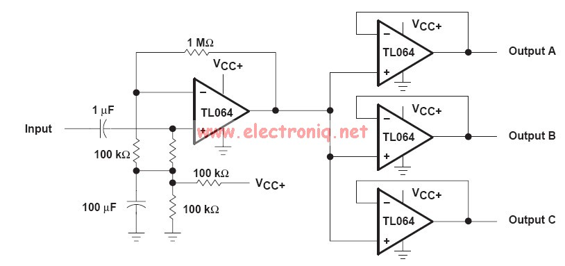 Audio Distribution Circuit Electronic Project Using Op Amp