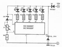SN16889 battery voltage indicator circuit design electronic project